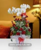 Seramik Vazoda 21 Güller Ve Orkide