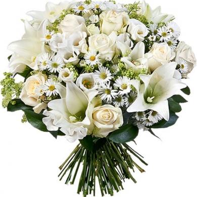 İthal Beyaz Çiçekler Ve Lilyum Çalışması