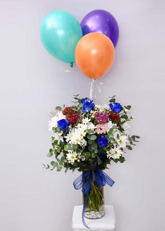 Mavi Güllü Çiçek Uçan Balon