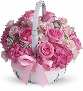 Sepette Pembe Çiçek Aranjmanı