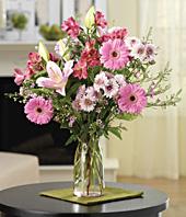 Vazoda Pembe Çiçek Aranjman