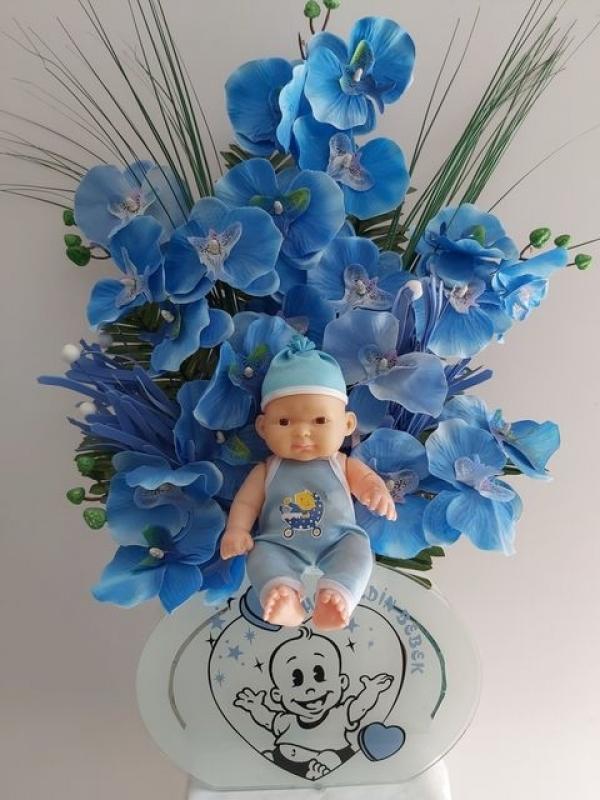 Erkek Bebek Hoşgeldin Yapay Çiçek