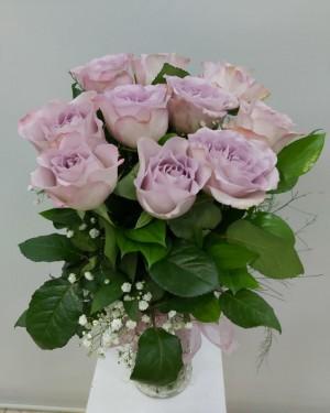 Vazoda 10 Adet İthal lila Güller