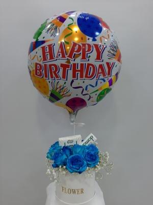 Kutuda 11 Mavi Gül ve Çikolata Balon