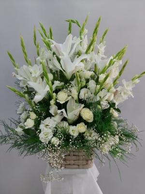 Beyaz Çiçek Aranjmanı Izmir 90 cm