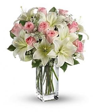 Vazoda Pembe Beyaz Çiçekler